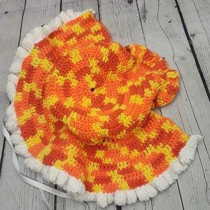 Vintage Accessories - Vintage Hand Knitted Yellow Orange Bonnet Hat